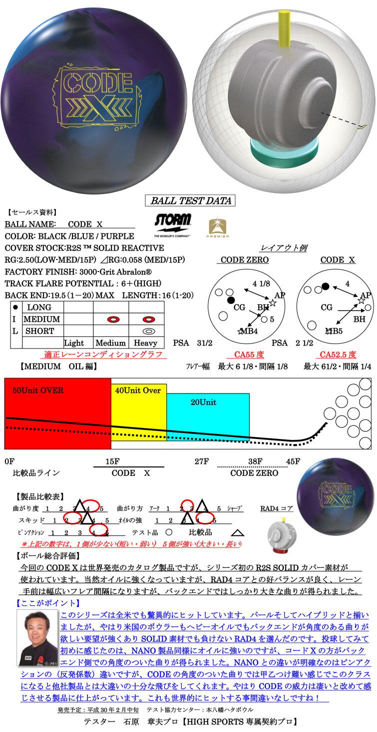 ボウリング用品 ボウリングボール ストーム STORM コードX CODE X