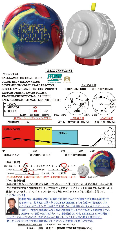 ボウリング用品 ボウリングボール ストーム STORM クリティカルコード CRITICAL CODE