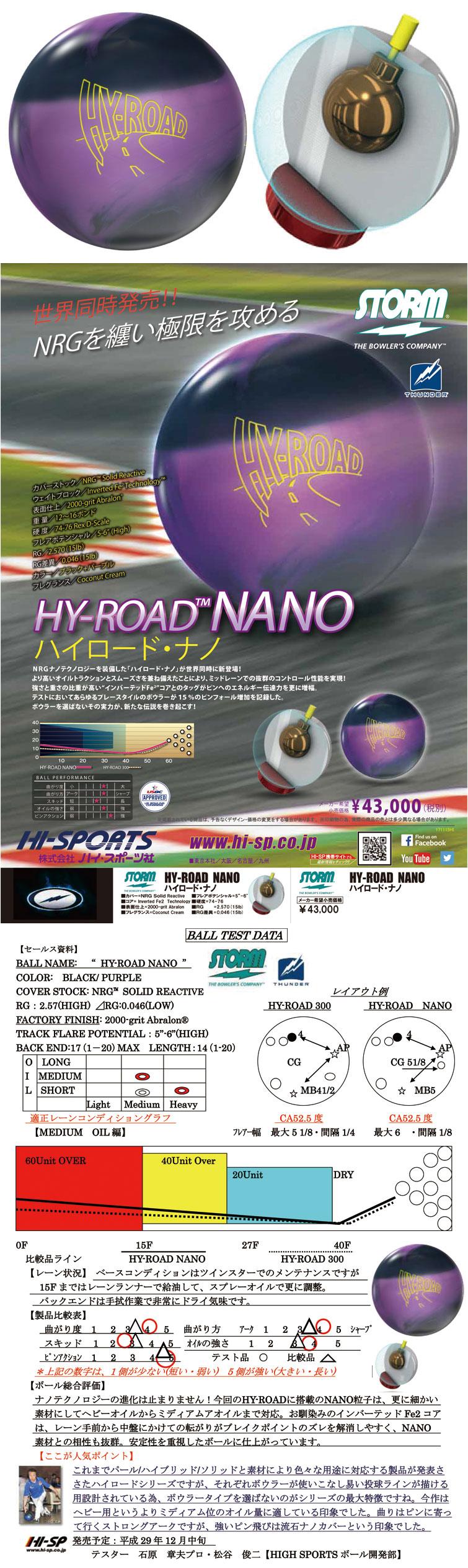 ボウリング用品 ボウリングボール ストーム STORM ハイロードナノ HYROAD NANO