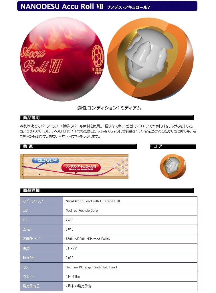 ボウリング用品 ボウリングボール ABS ナノデス アキュロール7 NANODESU Accu Roll 7
