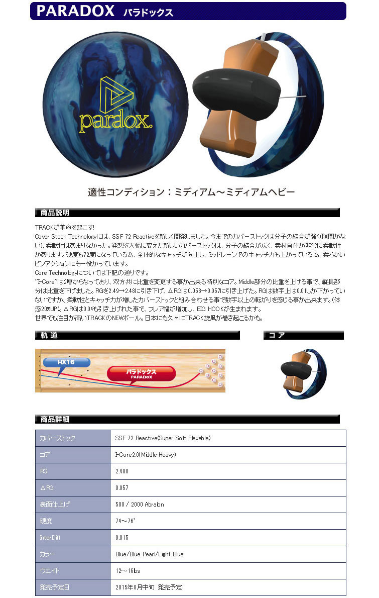 ボウリングボール トラック TRACK パラドックス PRADOX