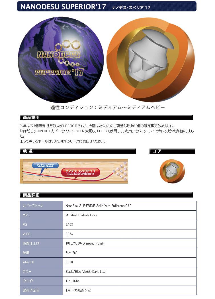 ボウリング用品 ボウリングボール ABS ナノデス スペリア'17 NANODESU SUPERIOR'17